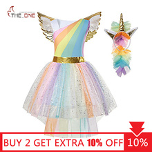 MUABABY Girl Unicorn Dress Up Kids Summer Rainbow Sequin Party Tutu Dress Girls Pageant Tulle Cosplay Costume with Wing Headband
