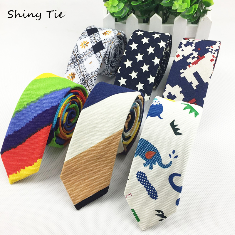 Mens Linen Tie Printed Animal Star Flower Rainbow Necktie Slim Skinny Narrow Ties 5CM Width Handmade Casual Ties Free Shipping