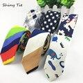 Mens Linen Tie Printed Animal Star Flower Rainbow Necktie Slim Skinny Narrow Ties 5CM Width Handmade Casual Ties Free Shipping