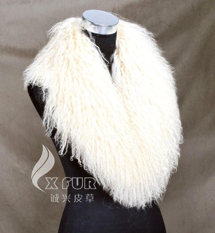 CX-A-52P из натуральной монгольской Овцы меховой воротник из натурального меха ягненка шарф шарфы накидка дизайн для леди - Цвет: BEIGE