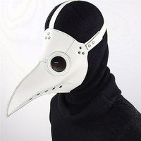PCMOS Plague Doctor Mask Bird Beak Halloween Makeup Cosplay Steampunk Punk Gothic Masks White PU