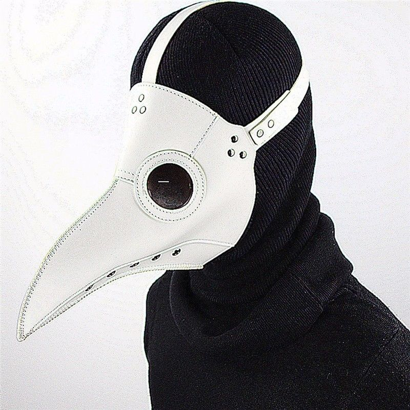 [PCMOS] Plague Doctor Mask Bird Beak Halloween Makeup Cosplay Steampunk Punk Gothic Masks White PU Leather Model Toy 17030202 future warrior mask breathable full face mask terminator helmet halloween cosplay horror human skeleton helmet halloween props