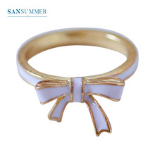 Sansummer New Hot Fashion Blue Black Bowknot Simple Closed Personality Girl Cute Japan And Korea Style Ring For Woman Jewelry