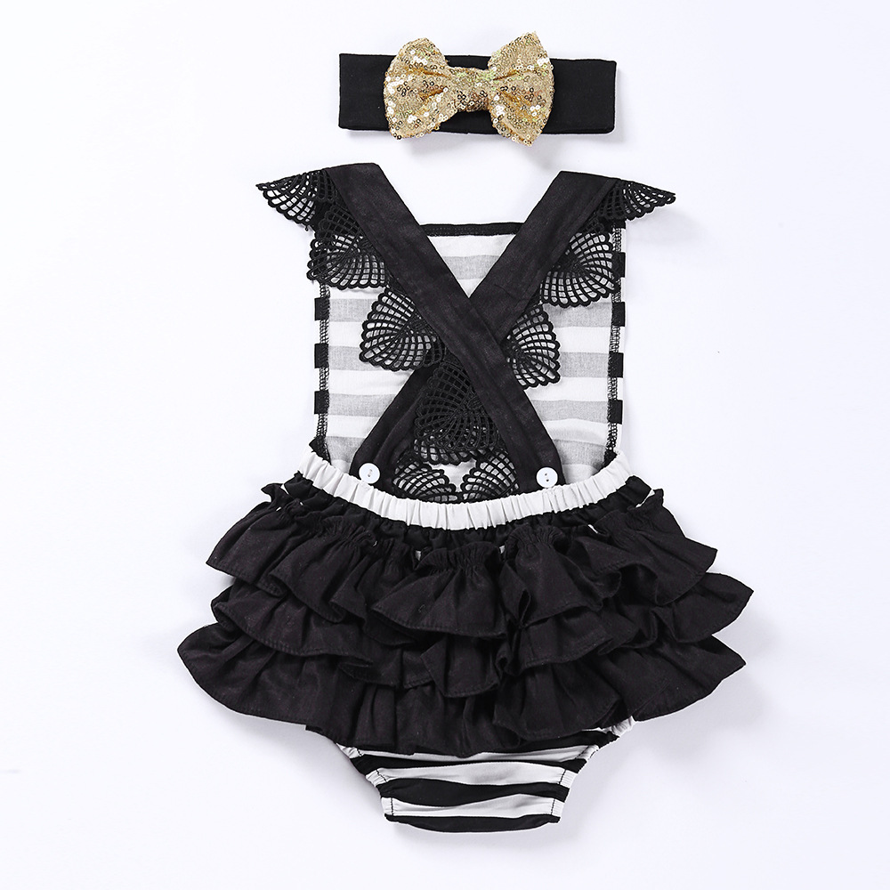 e723414c2e0b Chic Baby Rompers Sequined Headband 2pcs Sets Bebe Girl Outfits Striped Ruffles  Romper Halter Baby Clothing Costumes-in Rompers from Mother   Kids on ...