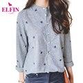 Folhas de outono blusas de manga longa mulheres blusas bordados mulheres casuais camisa listrada tops mulheres plus size clothing lj5239r