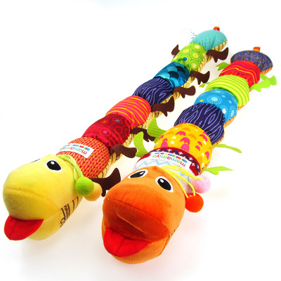 Baby Toys Musical Stuff Caterpillar With Ring Bell Cute Cartoon Animal Plush Doll Puzzle Music Kids Toys