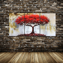 Modular Canvas Paintings Posters Home Decor Wall Art Pictures 3 Pieces Red Tree Scenery Landscape Framework