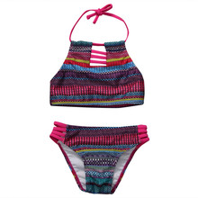 2017 Toddler Kids Baby Girls Tankini Bikini Set Halter Striped Bandage Swimwear Swimsuit Bakcless Bathing Suit Beachwear 0-5Y