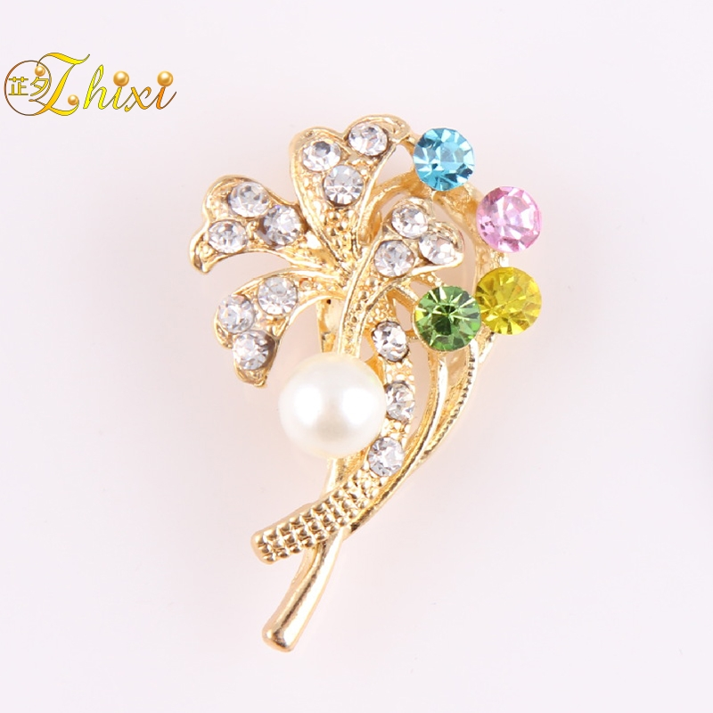 ZHIXI Fine Pearl Jewelry Real Freshwater Pearl Brooches Flower Brooch Pin  For Women White 9-10MM Trendy Anniversary Gift B51