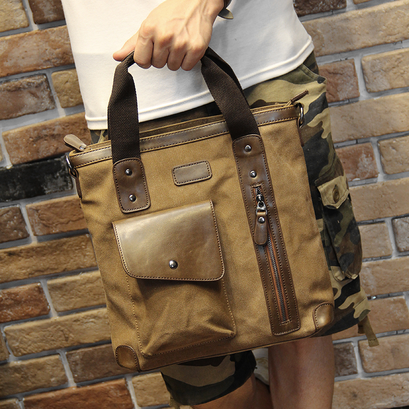 Men's bags Brand Vintage Men's Messenger Bags Canvas Shoulder HandBag Fashion Men Business Crossbody Bag Casual Travel Handbag 17