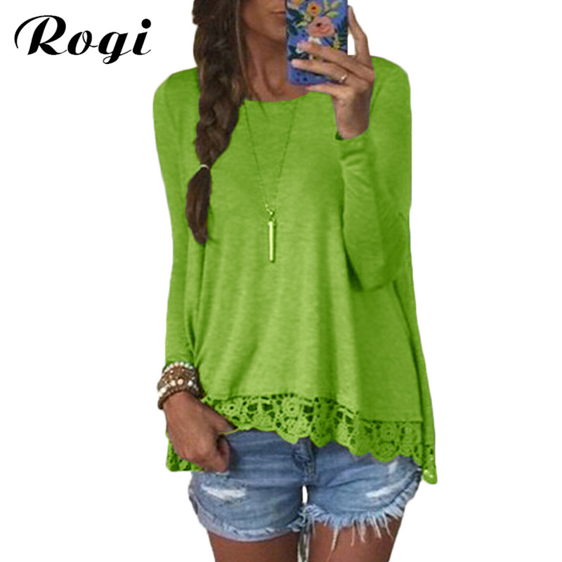 Rogi Sueter Mujer 2018 Lace Sweater Tracksuits Pullovers Loose Casual O-neck Shirt Tops Female Irregular Hem Blouse Pull Femme