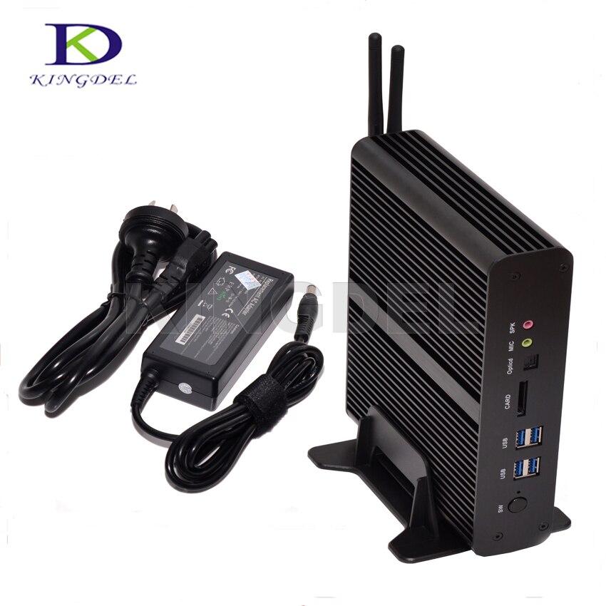 Kingdel Intel 5th Gen Broadwell I7 5500U 5600U Barebone PC Fanless Mini PC HTPC 2*Gigabit LAN+2*HDMI+SPDIF+USB3.0 Wifi Windows10