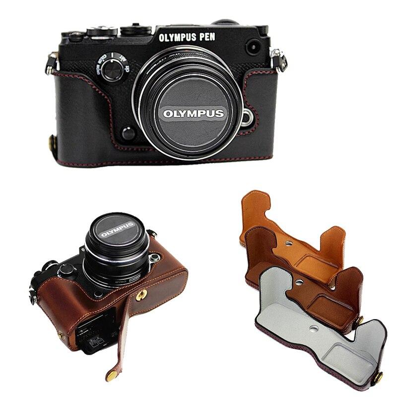 New Custodia In Pelle Per Fotocamera Olympus Pen-F Penna F PENF Metà Corpo Borsa Fotografica Estrarre la Batteria Direttamente copertura