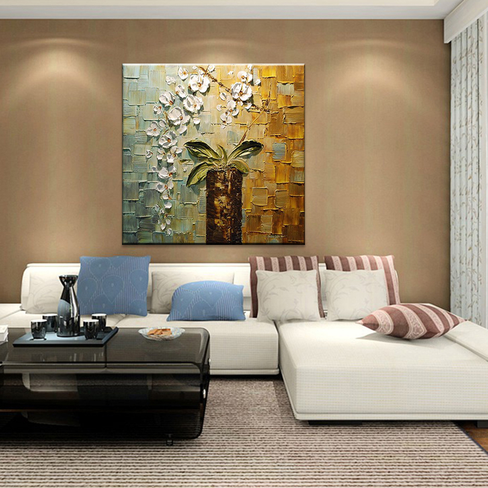 Hand Painted Modern Home Decor Room Hall Wall Art Picture White Orchid Flower Thick Colors Palette Knife Oil Painting On Canvas In Calligraphy