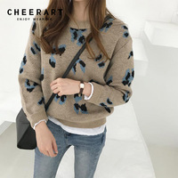 Cheerart Korean Sweater Jumper Women Chic Knitted Sweater And Pullovers Casual Printed Corean Style Pull Femme Winter Autumn