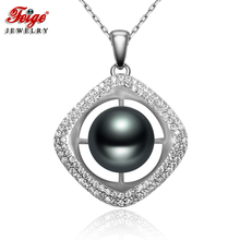 Luxury Square Black Pearl Pendant Necklaces for Women 10-11MM Freshwater Real 925 Sterling Silver Chain Dropshipping FEIGE