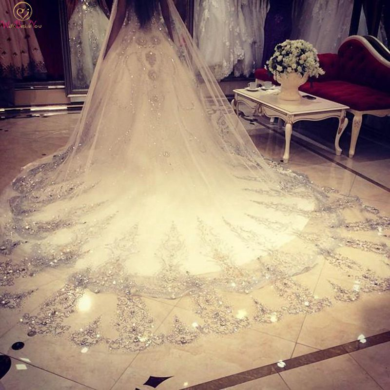 Women Luxurious Crystal Wedding Veil Long 3.5M Lace Edge Bridal Cathedral Veil White Ivory 1 Layer Adult Party Accessories 2019