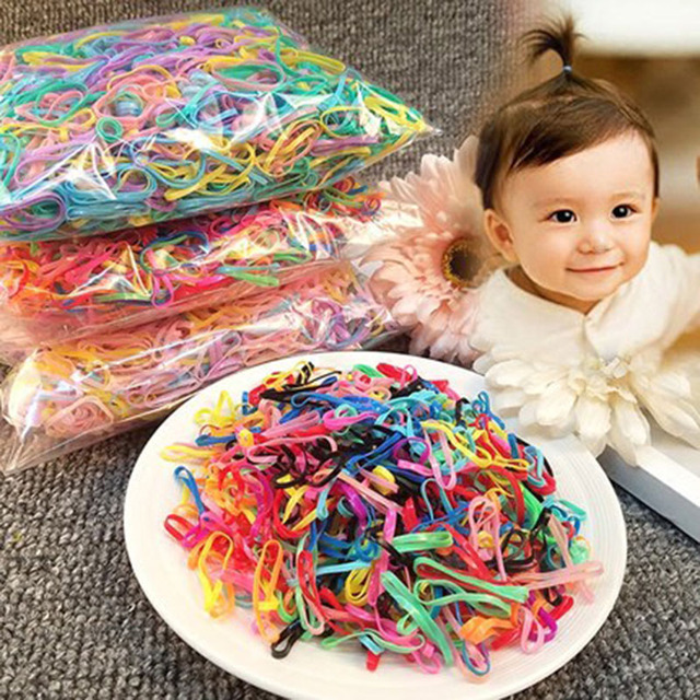 100pcs/Lots Rubber Band baby Girls Elastic Hair Band Tie Rope Fashion Hair Accessories for kids clips Disposable rubber band