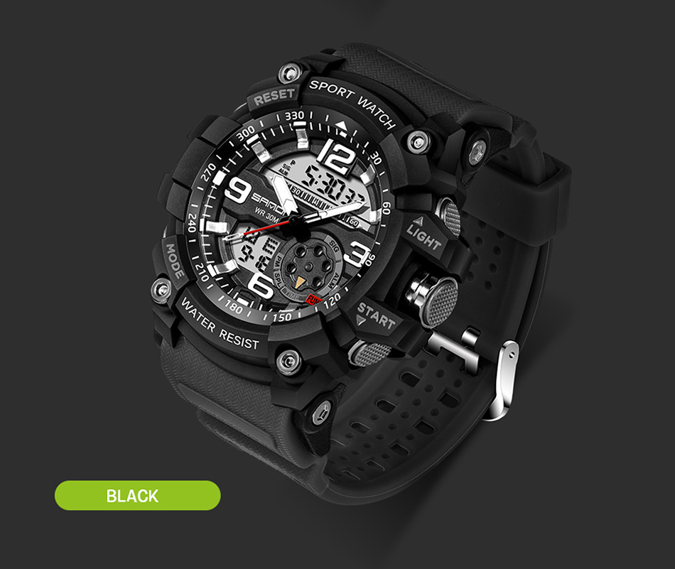 Sanda 759 Men Military Sport Watch Black