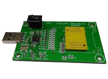 eMMC socket with USB size 11.5x13_0.5mm,eMMC socket nand flash testing, for BGA 169 and BGA 153 testing, Clamshell