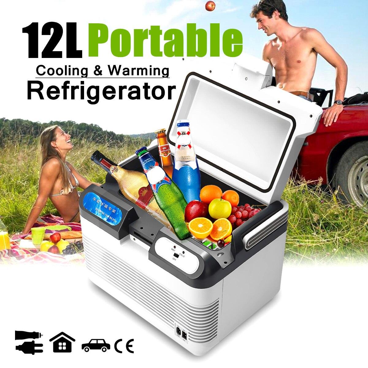 12L 12 V/240 V 60 W Mini réfrigérateur Portable voiture Camping maison réfrigérateur refroidisseur/réchauffeur avec 2 méthodes de charge poignée Portable