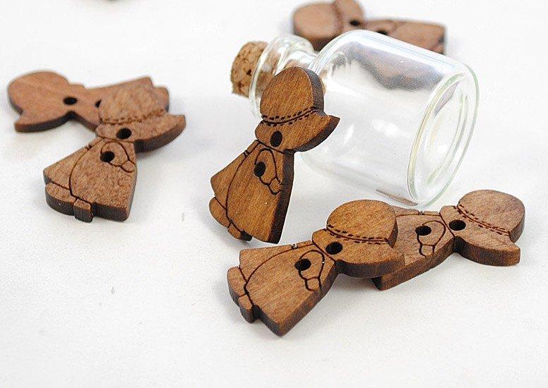 ④500 unids madera Botones Caperucita niña W/sombrero madera Cuentas ...