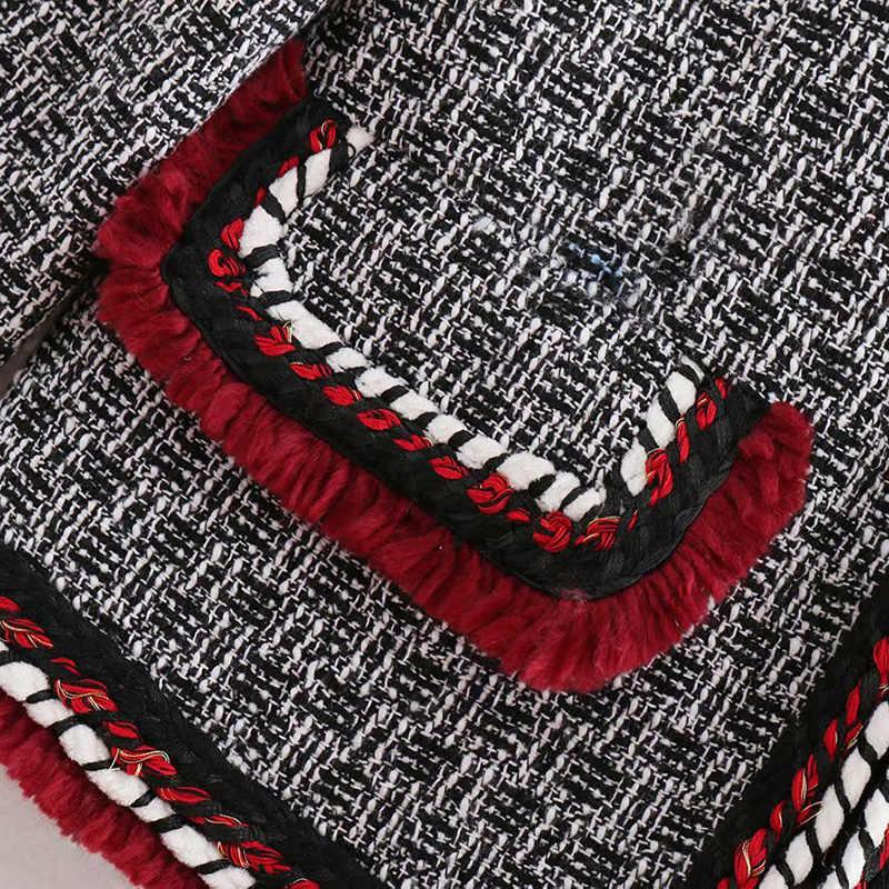 Zastanawiam się, 2018 nowy jesień w stylu Vintage postrzępiony wykończenia teksturowane splot Blazers płaszcz O Neck z długim rękawem damska odzież wierzchnia Casual Casaco Femme