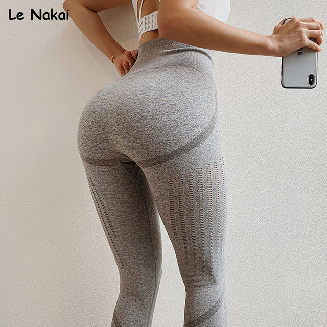 21ef0258c33d9 High Waisted Grey Energy Seamless Leggings Women Scrunch Butt Workout  Tights Yoga Pants Gym Leggings Sport Fitness Trousers