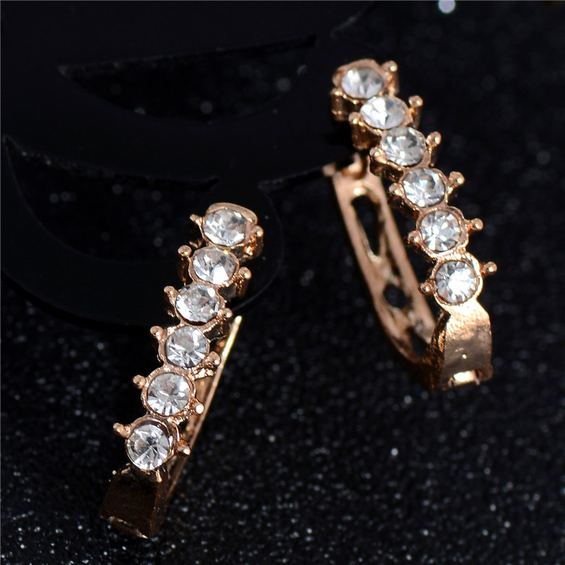 SHUANGR 2017 New Arrival 1pair Earrings Gold Color Austrian Crystal Beautiful Hoop Earrings Gift for Lady