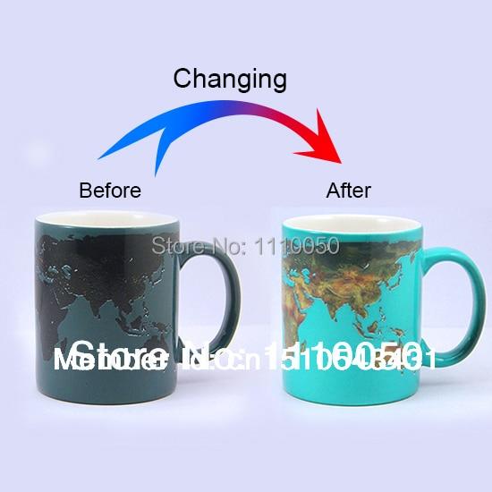 Heat Sensitive Coffee Cup Creative World Map Coffee Mug Color