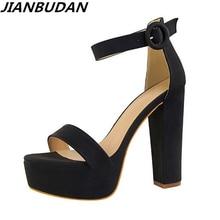 Sandalias elegantes de tacón alto de 13cm para mujer, zapatos impermeables con plataforma y punta