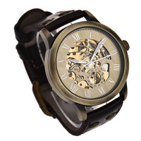 Superior New Fashion Steampunk Bronze Skeleton Auto Mechanical Leather Wrist Watch For Men July4