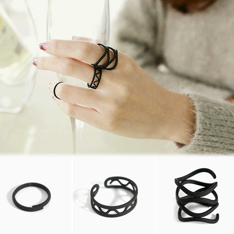 2016  Fashion Black Paint Hollow Ring Three Ring High Quality Finger Joints Three Piece Ring Set
