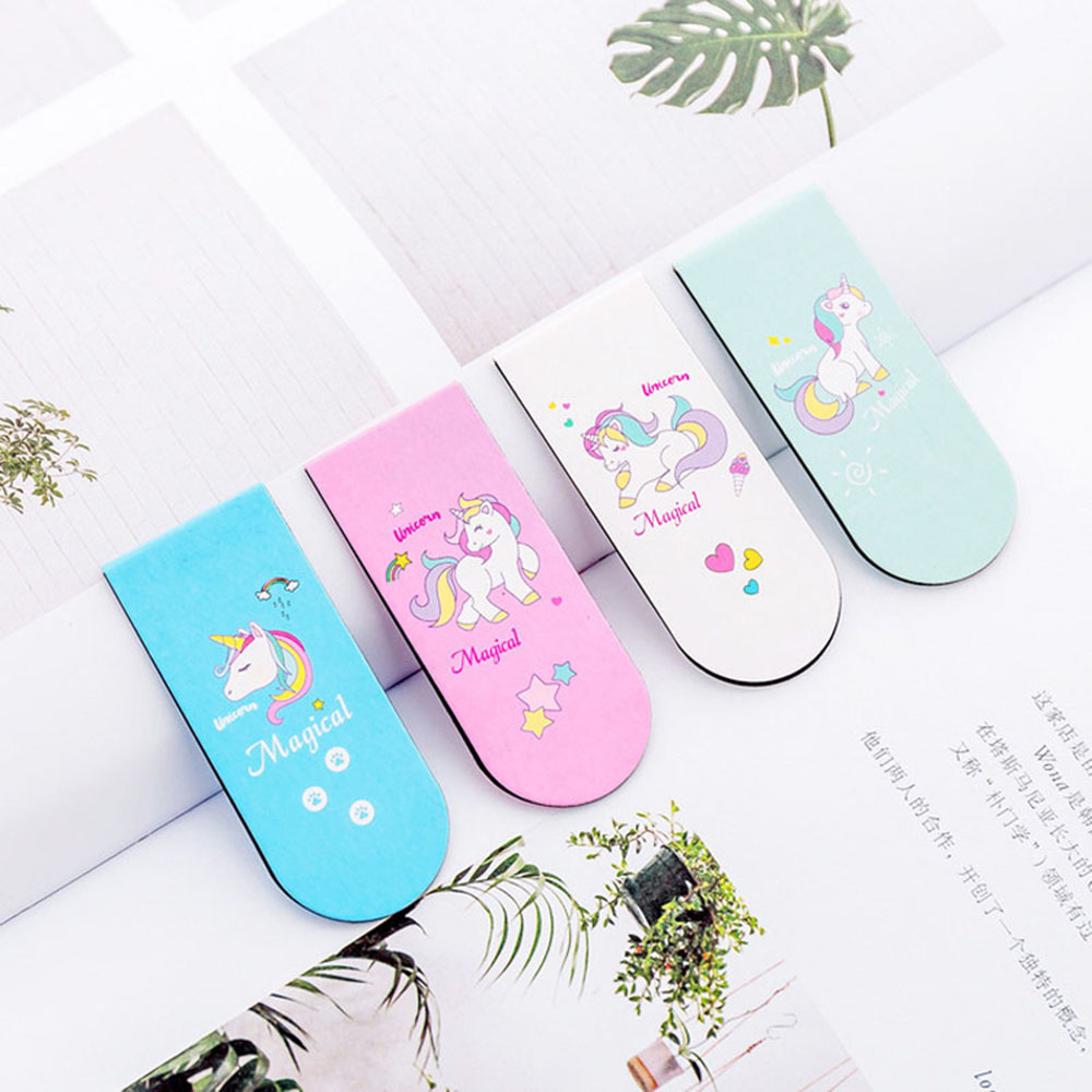 Cute Unicorn Magnetic Bookmark Marker Of Page School Office Supply Student Stationery Kids