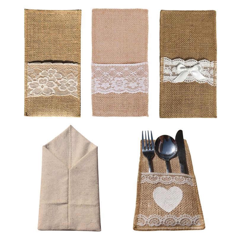 Burlap Cutlery Holder With White Heart Design Knife Fork Pouch Cutlery Bag With Lace Decor Wedding Tableware Bags