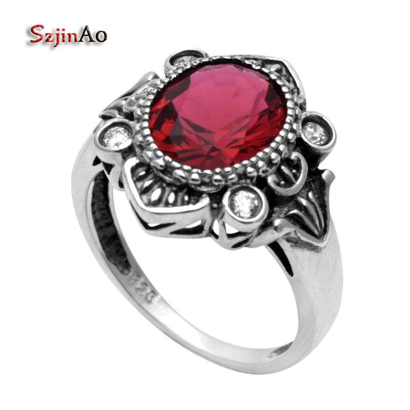 Szjinao New Ring Euramerican Popularity Antique Punk Female Wedding Ring Red Ruby Cubic Zirconia 925 Sterling Silver Ring
