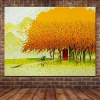 Hand Painted Abstract Art Palette Knife Autumn Scenery Canvas Oil Painting Falling Leaf Tree Wall Picture Living Room Home Decor