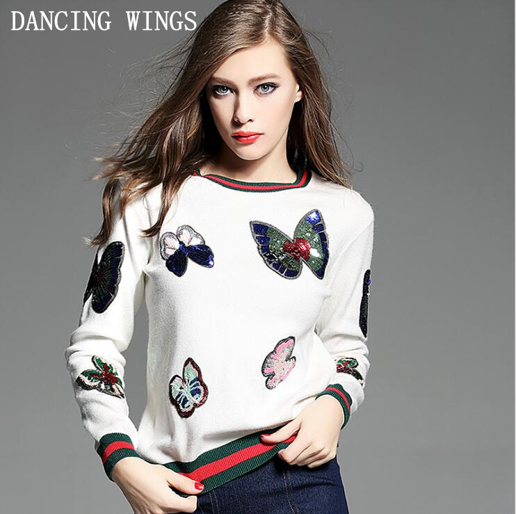 Осенний свитер пуловеры женский 2018 европейский и американский стиль вышивка блестками бабочка ребра вязать свитер с длинными рукавами