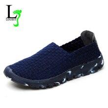 النساء حذاء كاجوال 2020 الصيف الاحذية المحبوكة يدويا أفضل نوعية تنفس موضة مريحة النساء أحذية بدون كعب الإناث المتسكعون