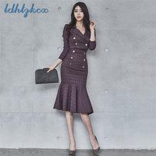 6741e69ae7 Set Women Short Blazer and Knee-length Pants Two Piece Clothing Autumn  Korean Office Fashion Slim Chic Plaid Sets Feminino LD569