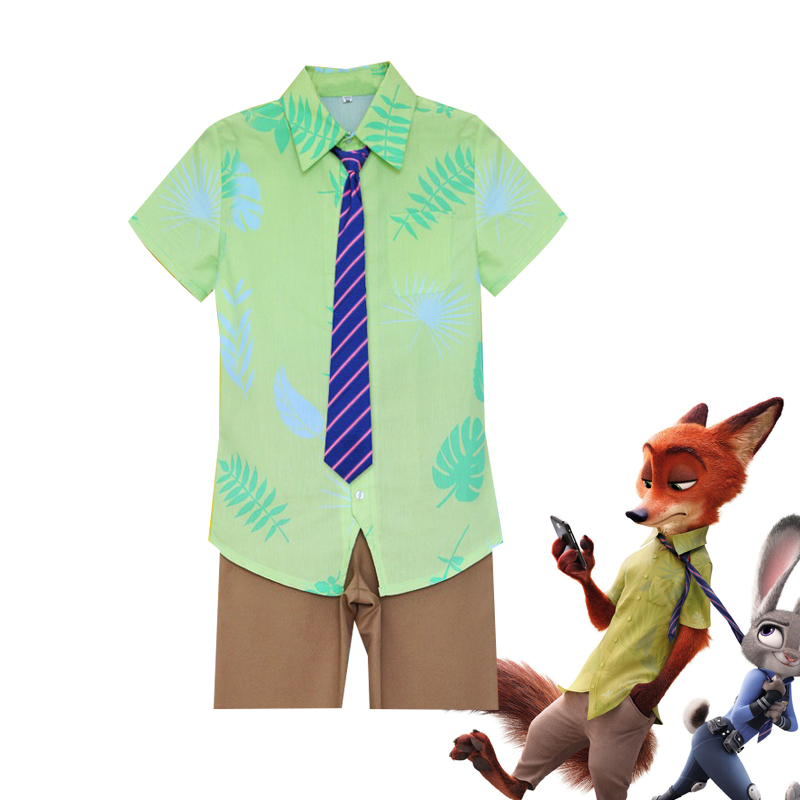 2016 Movie Zootopia Cosplay Nick Wilde Unisex Print Shirt Cosplay Costume For Adult Halloween Party Clothing