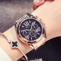 GIMTO Luxury Women Dress Watches Roman Numeral Rose Gold Black Unique Casual Female Wristwatch Waterproof Business