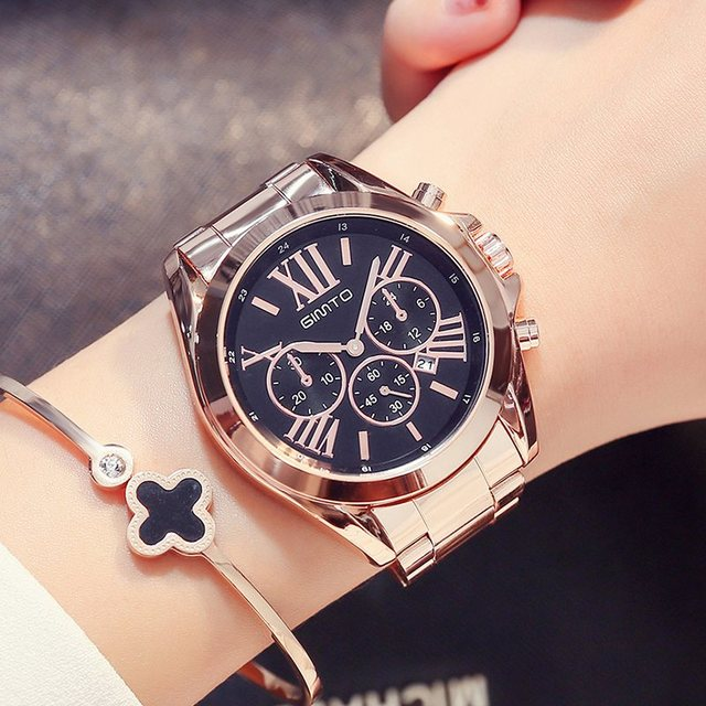 GIMTO Luxury Women Dress Watches Roman Numeral Rose Gold Black Unique Casual Fem