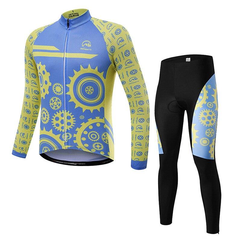 8d гель Радуга зима Велосипедная форма Велоспорт Джерси комплект одежда с длинным рукавом Ropa Ciclismo набор Велосипедный Спорт костюм одежда ве...