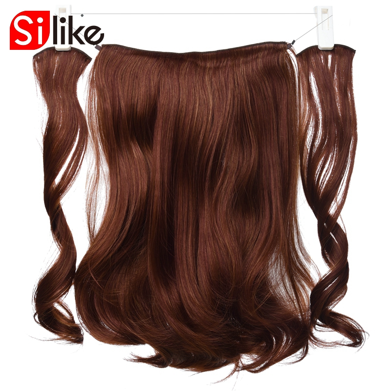 Silike Synthetic Invisible Hairpieces Wave Curly Hair Extensions Fish Line Clip-in Hair Extensions High Temperature Fiber ...