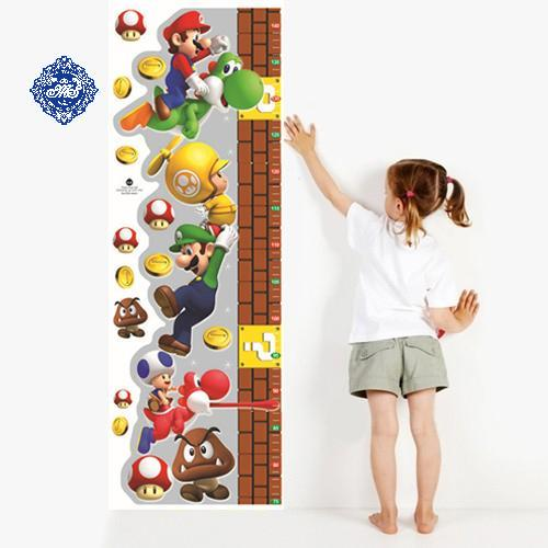 Super Mario Height Measurement 3D Nursery Cartoon Height Wall Stickers  Classroom Home Decor For Kids Room