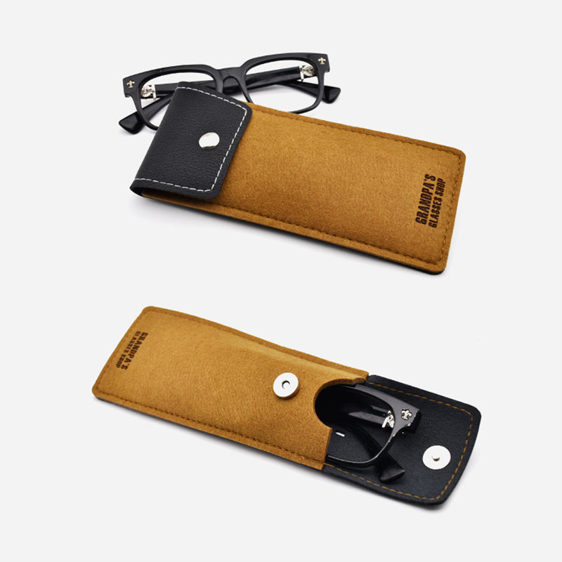 Portable Lightweight Sunglasses Bag Leather Wool Felt Bags Eyeglass Cases Spectacle Protector Container Eyeglasses Storage Pouch