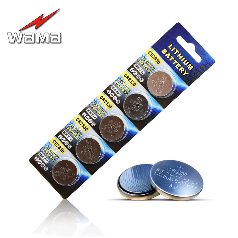5x Wama LITHIUM 3V CR2330 Button Cell Battery BR2330 ECR2330 2330 Car Remote Control LED Flash Card Installed Coin Batteries image