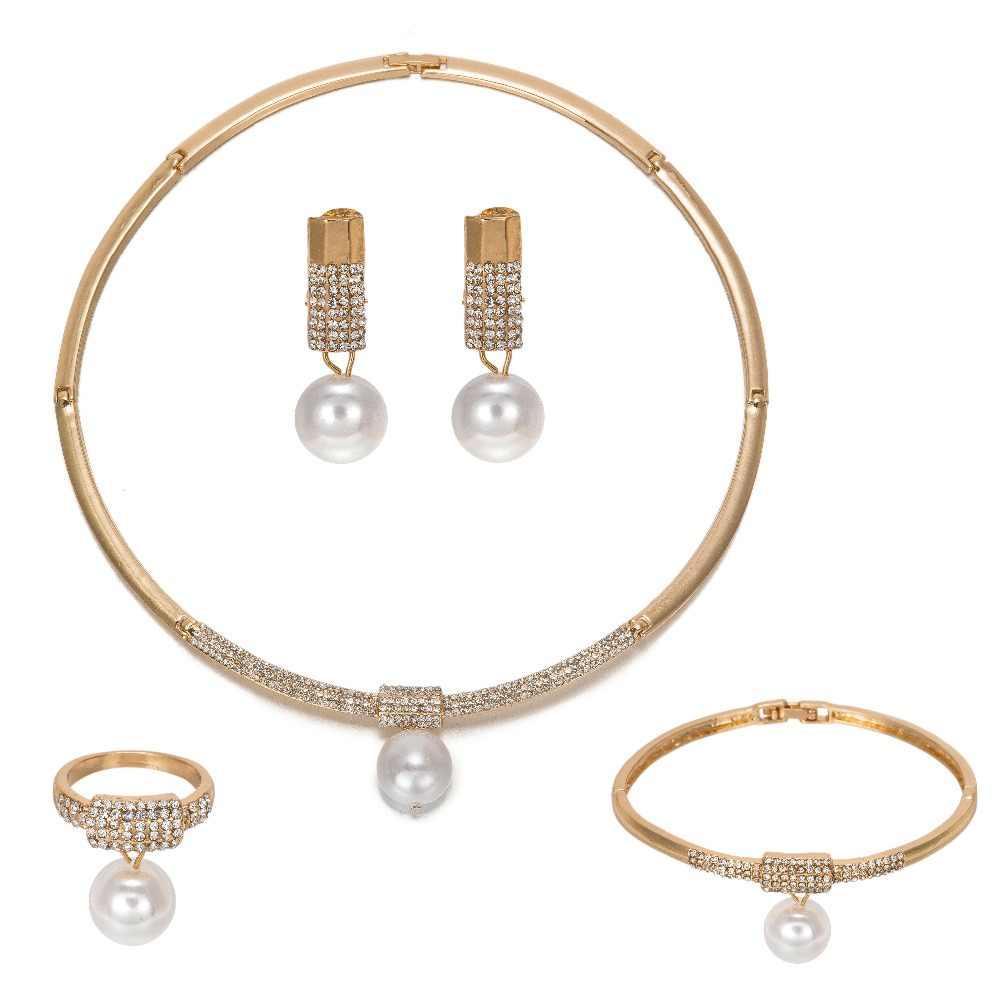 MUKUN נשים ללבוש סט תכשיטי חתונה מסיבת שרשרת אופנה סט פנינת אפריקה זהב שמלת כלה אביזרי תכשיטי מפלגה