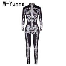 W-Yunna,, костюмы для женщин на Хэллоуин, с принтом скелета, с длинными рукавами, с воротником, на шее, Комбинезоны для женщин, страшная дьявольская ведьма для женщин